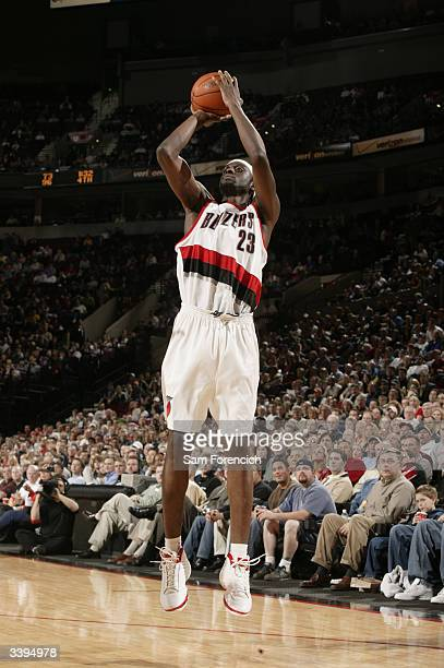 Darius Miles of the Portland Trail Blazers shoots a jump shot against the Golden State Warriors during the game at the Rose Garden on April 7 2004 in...