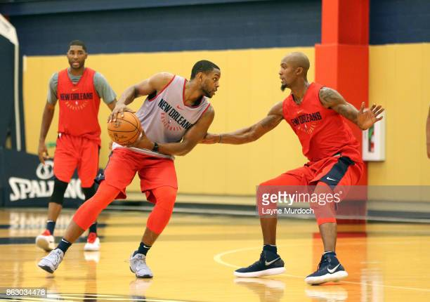 Darius Miller Dante Cunnigham and E'Twaun Moore of the New Orleans Pelicans participate in a Pelican practice on October 11 2017 at the the Ochsner...