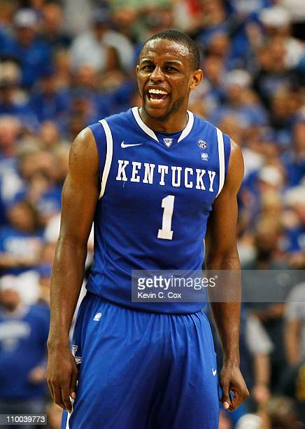Darius Miller of the Kentucky Wildcats reacts during their 70 to 54 win over the Florida Gators in the championship game of the SEC Men's Basketball...