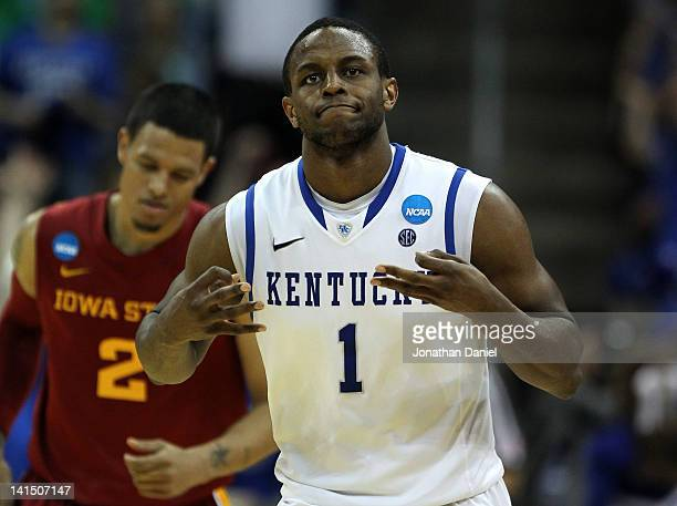 Darius Miller of the Kentucky Wildcats reacts in the second half against the Iowa State Cyclones during the third round of the 2012 NCAA Men's...