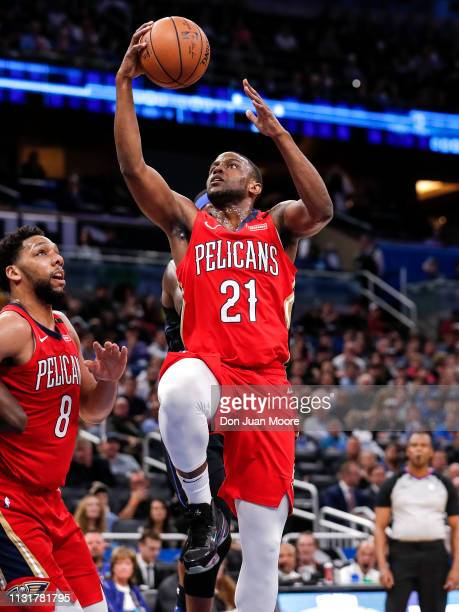 Darius Miller of the New Orlean Pelicans goes up for a score during the game against the Orlando Magic at the Amway Center on March 20 2019 in...