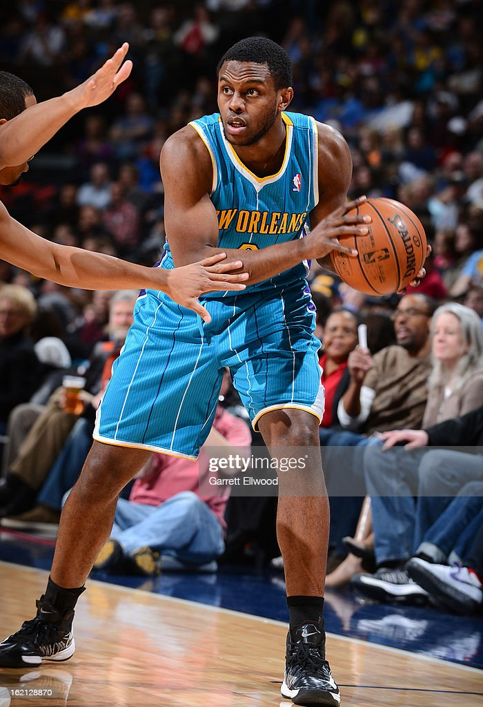 Darius Miller #2 of the New Orleans Hornets handles the ball against the Denver Nuggets on February 1, 2013 at the Pepsi Center in Denver, Colorado.