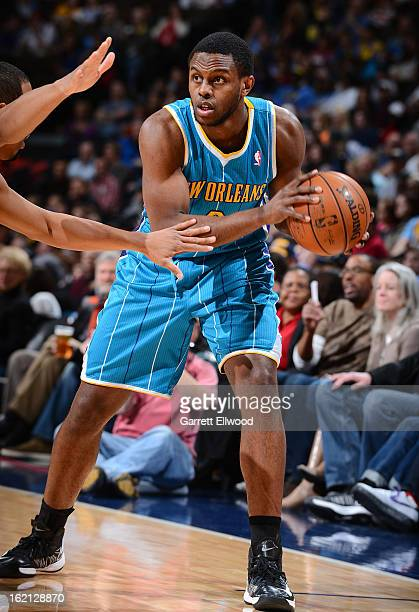 Darius Miller of the New Orleans Hornets handles the ball against the Denver Nuggets on February 1 2013 at the Pepsi Center in Denver Colorado NOTE...