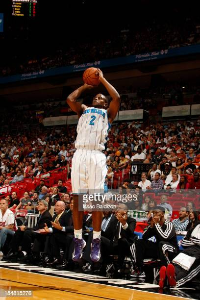 Darius Miller of the New Orleans Hornets shoots against the Miami Heat on October 26 2012 at American Airlines Arena in Miami Florida NOTE TO USER...