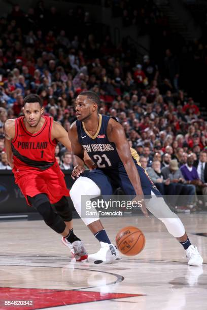 Darius Miller of the New Orleans Pelicans goes to the basket against the Portland Trail Blazers on December 2 2017 at the Moda Center in Portland...
