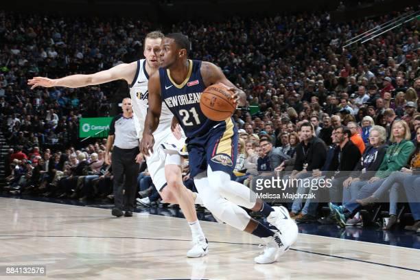 Darius Miller of the New Orleans Pelicans handles the ball against the Utah Jazz on December 1 2017 at vivintSmartHome Arena in Salt Lake City Utah...