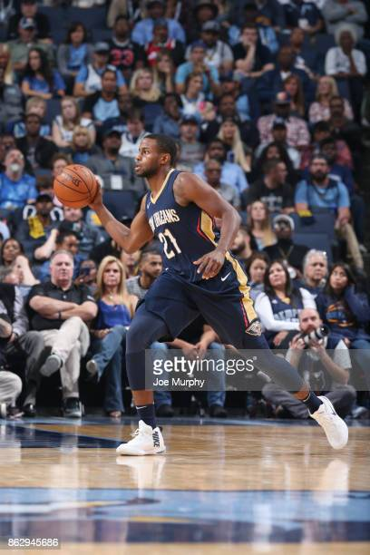 Darius Miller of the New Orleans Pelicans handles the ball during the 201718 regular season game against the Memphis Grizzlies on October 18 2017 at...
