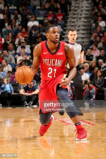 Darius Miller of the New Orleans Pelicans handles the ball during the game against the Milwaukee Bucks on December 13 2017 at Smoothie King Center in...
