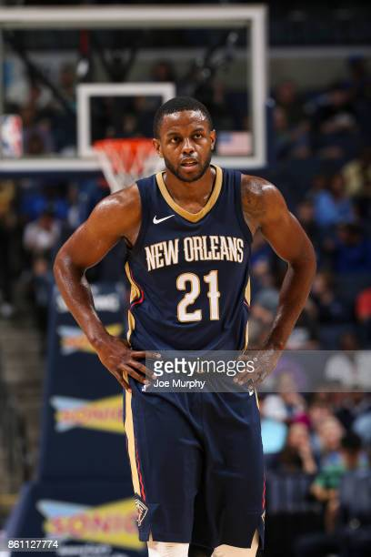 Darius Miller of the New Orleans Pelicans looks on during a preseason game against the Memphis Grizzlies on October 13 2017 at FedExForum in Memphis...
