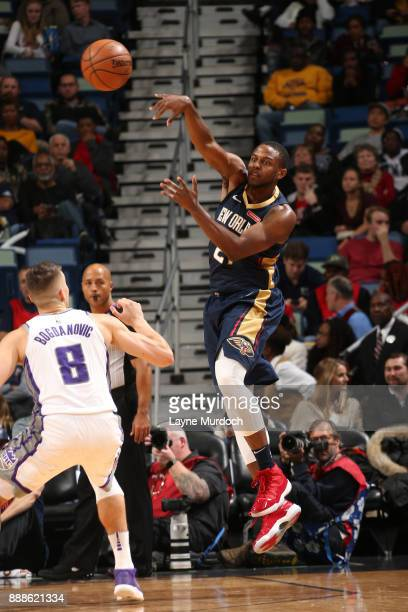 Darius Miller of the New Orleans Pelicans passes the ball against the Sacramento Kings on December 8 2017 at Smoothie King Center in New Orleans...