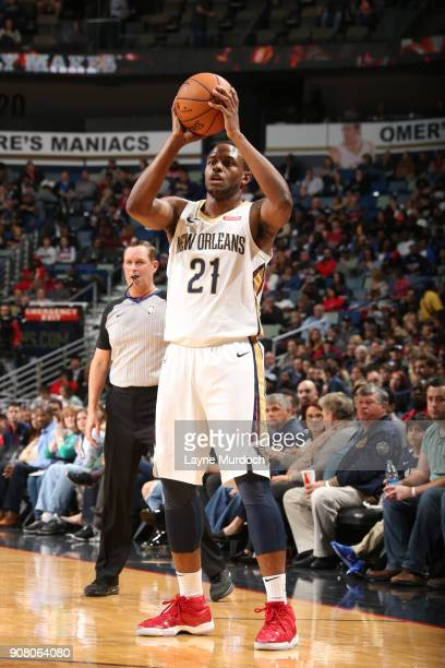 Darius Miller of the New Orleans Pelicans passes the ball during the game against the Memphis Grizzlies on January 20 2018 at the Smoothie King...