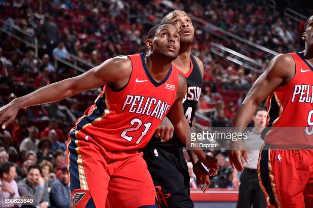 Darius Miller of the New Orleans Pelicans plays defense against PJ Tucker of the Houston Rockets on December 11 2017 at the Toyota Center in Houston...