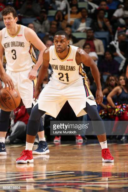 Darius Miller of the New Orleans Pelicans plays defense against the Philadelphia 76ers on December 10 2017 at the Smoothie King Center in New Orleans...