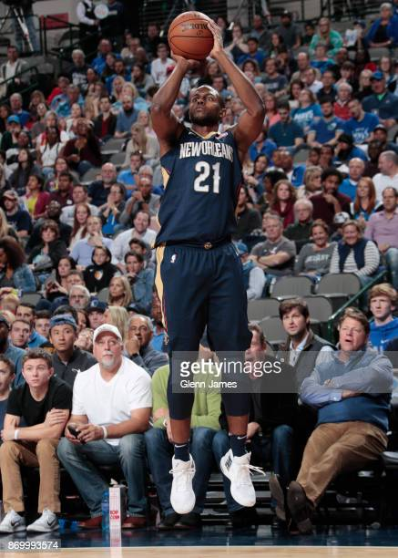 Darius Miller of the New Orleans Pelicans shoots the ball against the Dallas Mavericks on November 3 2017 at the American Airlines Center in Dallas...