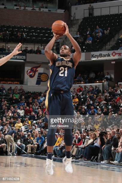 Darius Miller of the New Orleans Pelicans shoots the ball against the Indiana Pacers on November 7 2017 at Bankers Life Fieldhouse in Indianapolis...