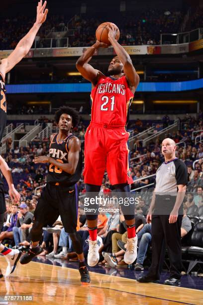 Darius Miller of the New Orleans Pelicans shoots the ball against the Phoenix Suns on November 24 2017 at Talking Stick Resort Arena in Phoenix...
