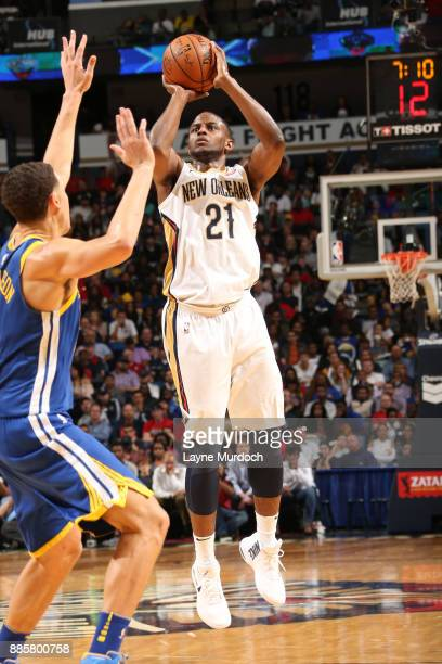 Darius Miller of the New Orleans Pelicans shoots the ball against the Golden State Warriors on December 4 2017 at Smoothie King Center in New Orleans...