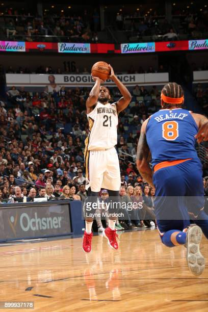 Darius Miller of the New Orleans Pelicans shoots the ball against the New York Knicks on December 30 2017 at the Smoothie King Center in New Orleans...