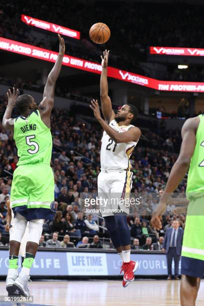 Darius Miller of the New Orleans Pelicans shoots the ball against the Minnesota Timberwolves on January 6 2018 at Target Center in Minneapolis...