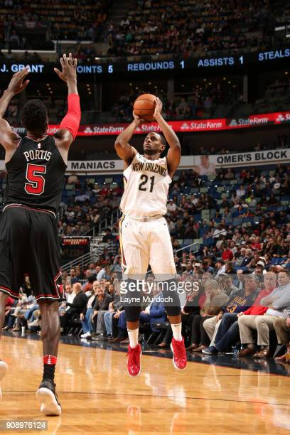 Darius Miller of the New Orleans Pelicans shoots the ball against the Chicago Bulls on January 22 2018 at the Smoothie King Center in New Orleans...