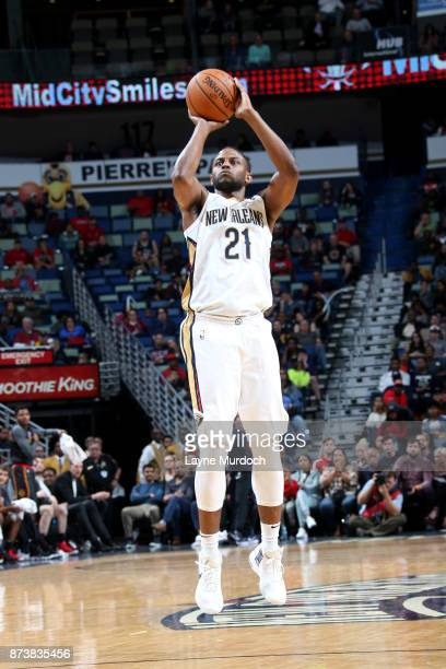 Darius Miller of the New Orleans Pelicans shoots the ball during the game against the Atlanta Hawks on November 13 2017 at Smoothie King Center in...