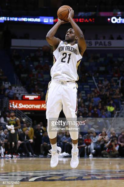 Darius Miller of the New Orleans Pelicans shoots the ball during the second half of a game against the Atlanta Hawks at the Smoothie King Center on...