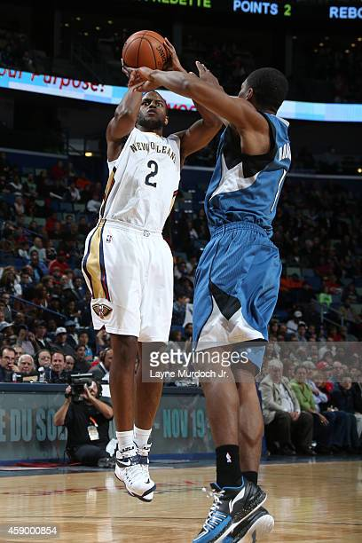 Darius Miller of the New Orleans Pelicans takes a shot against the Minnesota Timberwolves on November 14 2014 at the Smoothie King Center in New...