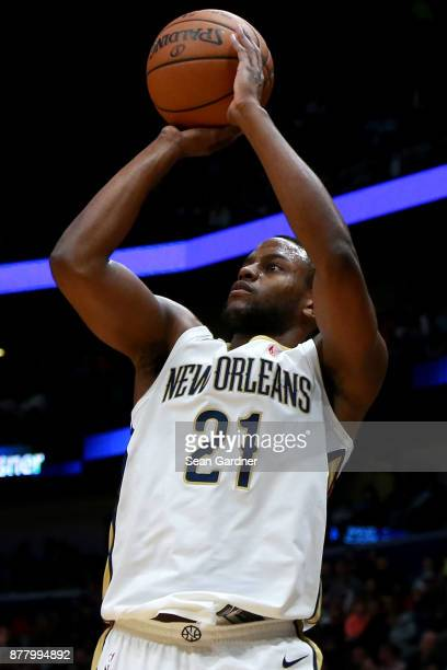 Darius Miller of the New Orleans Pelicans taks a shot during a NBA game against the Oklahoma City Thunder at the Smoothie King Center on November 20...