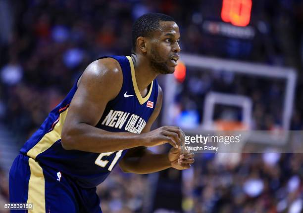 Darius Miller of the New Orleans Pelicans waits for a pass during the first half of an NBA game against the Toronto Raptors at Air Canada Centre on...