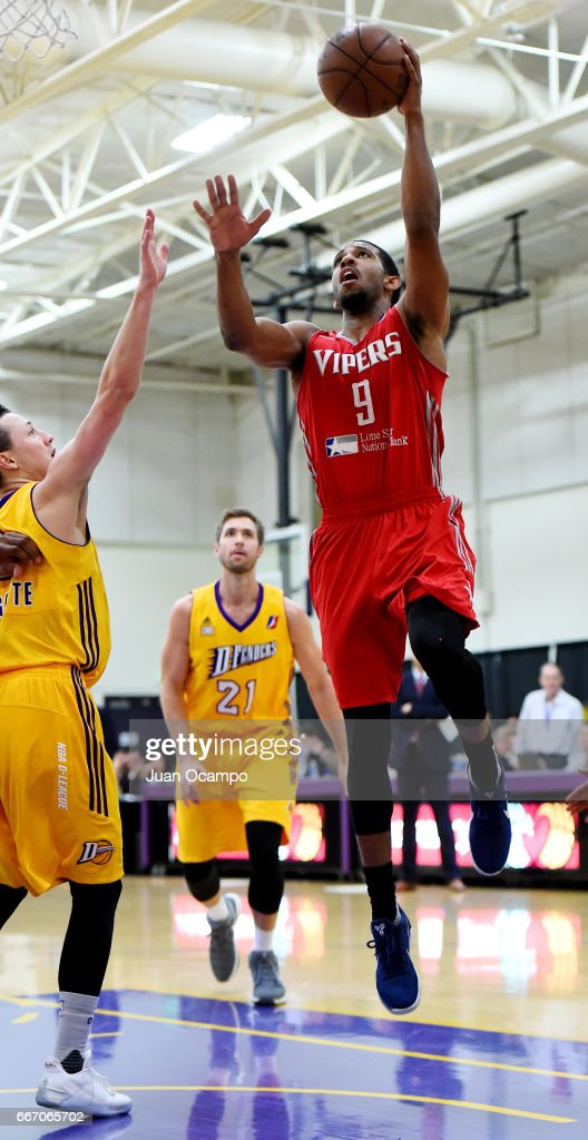 Darius Morris #9 of the Rio Grande Valley Vipers goes to the basket against Josh Magette #9 of the Los Angeles D-Fenders in Game Three of the Western Division SemiFinals on April 10, 2017 at Toyota Sports Center in El Segundo, California.