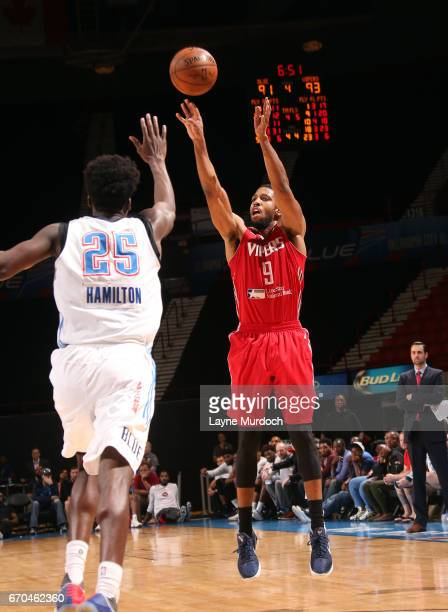 Darius Morris of the Rio Grande Valley Vipers shoots against Daniel Hamilton of the Oklahoma City Blue during Game 3 of the Western Conference Finals...