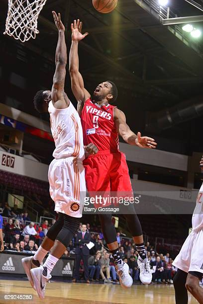 Darius Morris of the Rio Grande Valley Vipers shoots against Derek Cooke Jr #11 of the Northern Arizona Suns on December 9 at Prescott Valley Event...