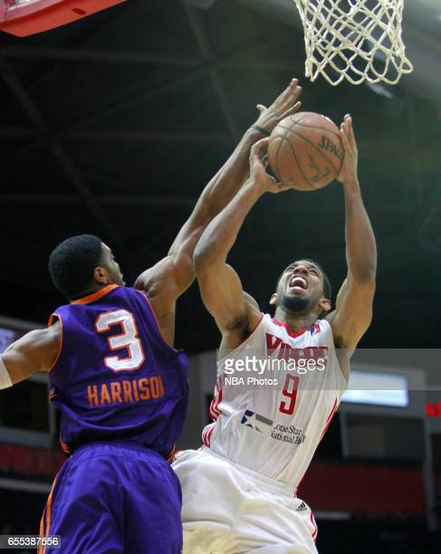Darius Morris of the Rio Grande Valley Vipers shoots on Shaquille Harrison of the Northern Arizona Suns at the State Farm Arena March 19 2017 in...