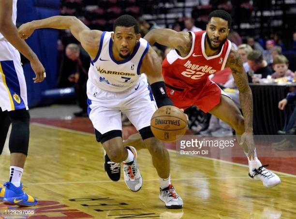 Darius Morris of the Santa Cruz Warriors handles the ball against Tarik Phillip of the Memphis Hustle at Landers Center in an NBA GLeague game on...