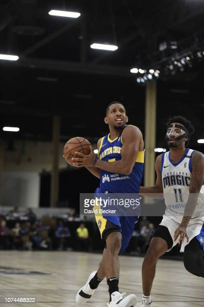 Darius Morris of the Santa Cruz Warriors of the Santa Cruz Warriors drives to the basket against the Lakeland Magic during the NBA G League Winter...