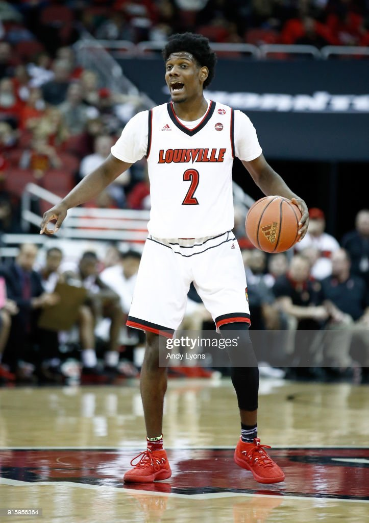 Darius Perry #2 of the Louisville Cardinals dribbles the ball against the Georgia Tech Yellow Jackets during the game at KFC YUM! Center on February 8, 2018 in Louisville, Kentucky.