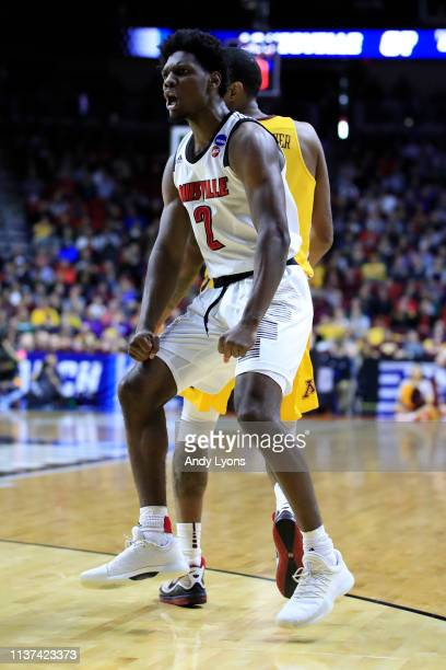 Darius Perry of the Louisville Cardinals reacts after a play against the Minnesota Golden Gophers during their game in the First Round of the NCAA...