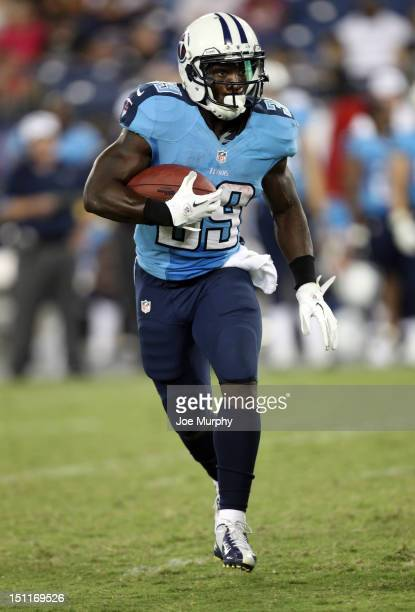 Darius Reynaud of the Tennessee Titans runs with the ball against the New Orleans Saints at LP Field on August 30 2012 in Nashville Tennessee