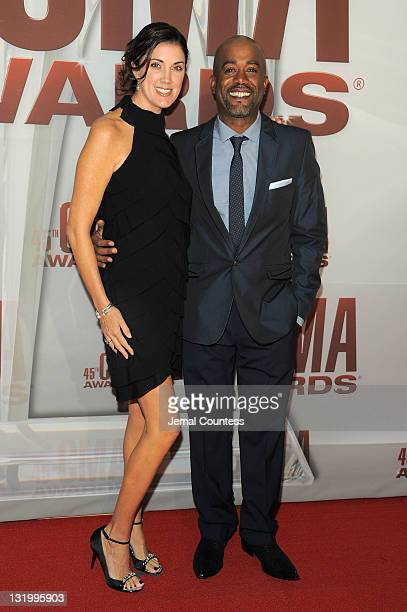 Darius Rucker and Beth Leonard attend the 45th annual CMA Awards at the Bridgestone Arena on November 9 2011 in Nashville Tennessee