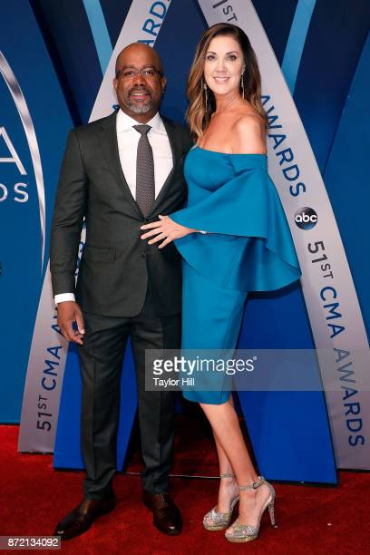 Darius Rucker and Beth Leonard attend the 51st annual CMA Awards at the Bridgestone Arena on November 8 2017 in Nashville Tennessee