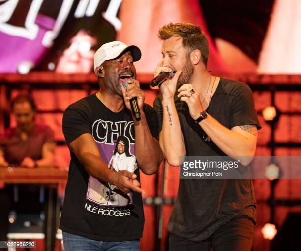 Darius Rucker and Charles Kelley from the band Lady Antebellum perform at the FivePoint Amphitheatre on August 24 2018 in Irvine California