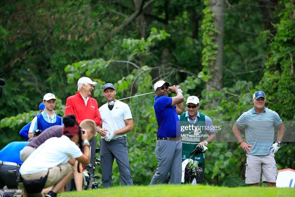 Darius Rucker hits his drive during the Celebrity Foursome to benefit the American Family Children's Hospital held during the second round of the American Family Insurance Championship held at University Ridge Golf Course on June 24, 2017 in Madison, Wisconsin.