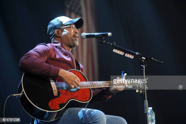 Darius Rucker performs onstage during a sound check for CBS RADIO's Third Annual 'Stars and Strings' Concert to honor our nation's veterans at...