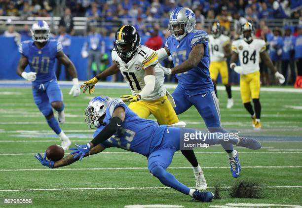 Darius Slay of the Detroit Lions breaks up a pass against the Pittsburgh Steelers during the first half at Ford Field on October 29, 2017 in Detroit,...