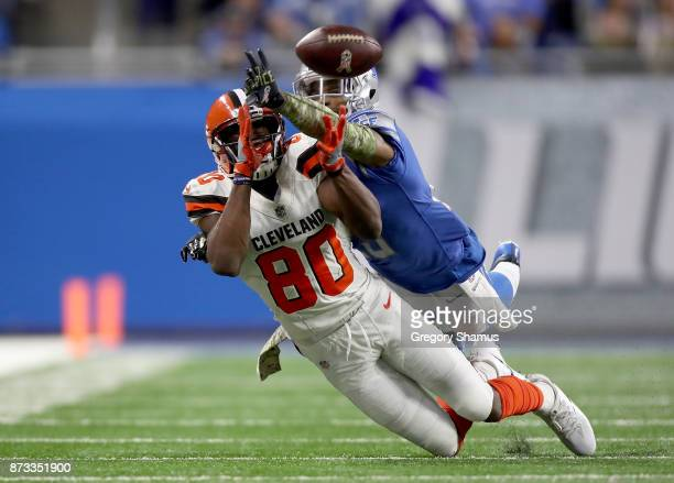 Darius Slay of the Detroit Lions breaks up a pass intended for Ricardo Louis of the Cleveland Browns during the second half at Ford Field on November...