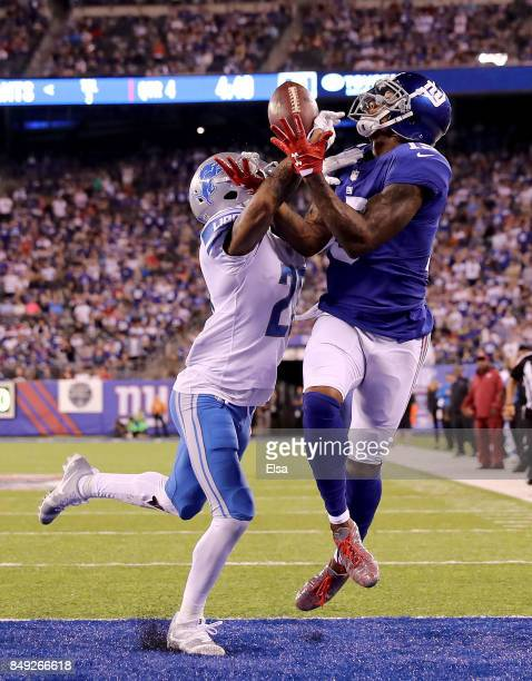 Darius Slay of the Detroit Lions breaks up the pass intended for Brandon Marshall of the New York Giants on September 18 2017 at MetLife Stadium in...