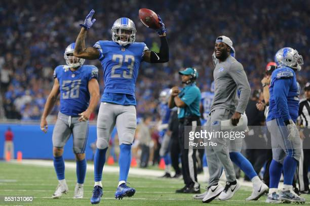 Darius Slay of the Detroit Lions celebrates his interception against the Atlanta Falcons during the second half at Ford Field on September 24 2017 in...