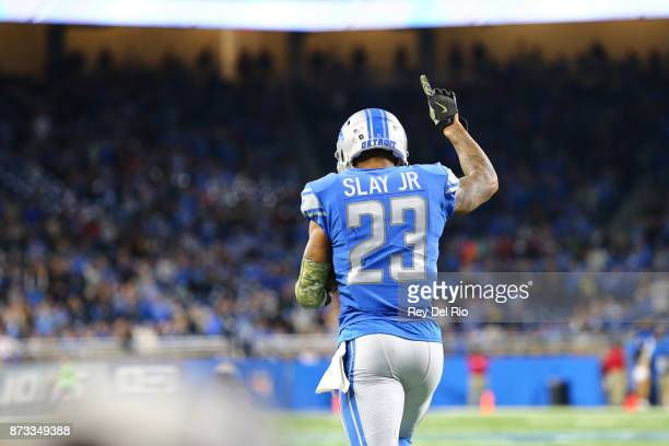 Darius Slay of the Detroit Lions celebrates his interception late in the fourth quarter during the game against the Cleveland Browns at Ford Field on...