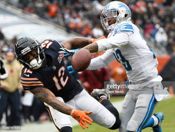 Darius Slay of the Detroit Lions defends Allen Robinson of the Chicago Bears during the second half at Soldier Field on November 10, 2019 in Chicago,...