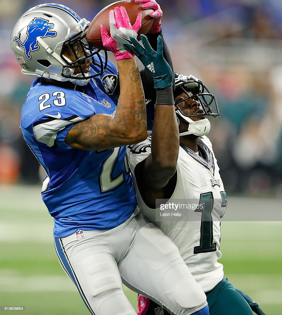 Darius Slay #23 of the Detroit Lions intercepts a pass intended for Nelson Agholor #17 of the Philadelphia Eagles in the final minutes of the game at Ford Field on October 9, 2016 in Detroit, Michigan. The Lions defeated the Eagles 24-23.
